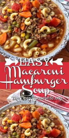 Easy Hamburger Soup with Macaroni is a hearty soup recipe that takes just fifteen minutes from start to finish.This delicious soup is loaded with ground beef, diced tomatoes, mixed vegetables and macaroni noodles. Beef Soup Recipes, Ground Beef Recipes, Cooker Recipes, Healthy Recipes, Healthy Soup, Hamburg Soup Recipes, Macaroni Soup Recipes, Casserole Recipes, Chicken Recipes