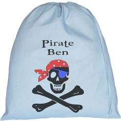 Personalised Pirate Skull & Cross Bones Large Blue Drawstring Bag