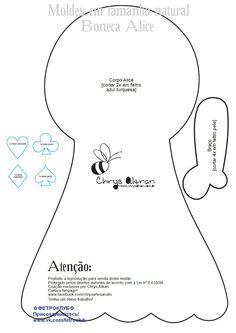 Boneca Alice do País das Maravilhas com molde