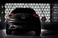 Just like we told you a couple of weeks ago, Infiniti is getting ready to show the smallest premium cars it's ever made at the Geneva Motor Show next month. A teaser photo they just put out shows the the crossover version of the compact car. Mercedes Benz Gla, New Mercedes, Crossover Suv, Nissan Juke, Teaser, New Infiniti, Small Suv, Trends Magazine, Cars