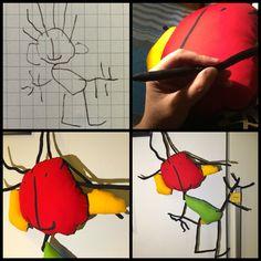 Il Cuscino di Iacopo, disegnato da lui e fatto da ADíaz Milano....Pillows for kids.