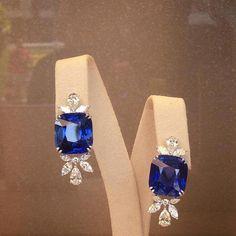 Online Jewellery Designing Jobs through Diamond Drop Earrings Emerald Cut next Diamond Earrings Studs Princess Cut Sapphire And Diamond Earrings, 14k White Gold Earrings, Sapphire Jewelry, Diamond Studs, Modern Jewelry, Fine Jewelry, Designer Earrings, Beautiful Earrings, Jewelry Design