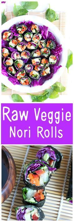 Healthy sushi rolls made with an array a raw veggies so you can eat the rainbow! NeuroticMommy.com #raw #vegan #healthy