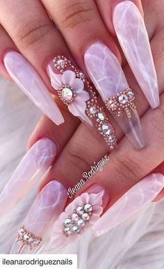 Welcome to our 2019 summer gallery of glamorous acrylic coffin nails. Bling Acrylic Nails, Summer Acrylic Nails, Best Acrylic Nails, Bling Nails, Gold Nails, Swag Nails, Coffin Nails, Stylish Nails, Trendy Nails