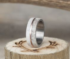 Antler weeding ring with gold inlay divider.