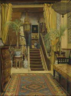 Jessica Hayllar BRITISH, 1858 - 1940 THE HALLWAY WITH POTTED PALMS 1882