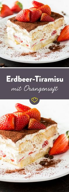 Erdbeer-Tiramisu mit Orangensaft – süßer Sommer How do you breathe summery lightness into the Italian classic? By soaking the sponge fingers in orange juice, mix the mascarpone with yoghurt and lemon No Bake Desserts, Delicious Desserts, Yummy Food, Baking Recipes, Cake Recipes, Dessert Recipes, Torte Au Chocolat, Desayuno Paleo, Strawberry Tiramisu