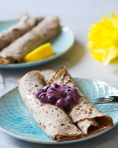These 4 ingredient crepes are absolutely delicious. Naturally gluten and wheat free due to using buckwheat flour. They are also vegan and refined sugar free
