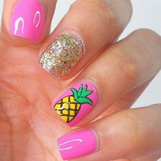 Want some ideas for wedding nail polish designs? This article is a collection of our favorite nail polish designs for your special day. Diy Nails, Cute Nails, Pink Tip Nails, Pineapple Nails, Pineapple Nail Design, Gold Pineapple, Bright Summer Nails, Summer Beach Nails, Bright Colored Nails