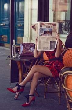"""books0977: """" Nicole Warne reading while spying in Paris. Photos by Zanita. Styling by Nicole Warne. All clothing and accessories by Louis Vuitton. For a brand famous for its luxury leather goods and..."""