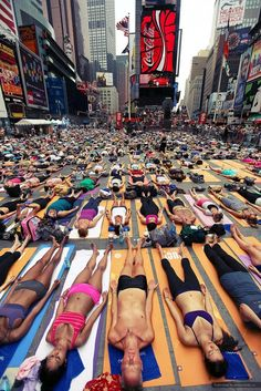 Solstice in Times Square, Mind over Madness Yoga.