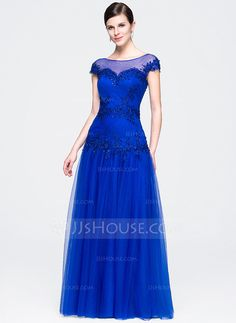 A-Line/Princess Scoop Neck Floor-Length Tulle Evening Dress With Ruffle Beading Appliques Lace Sequins (017071541)