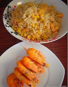 Rice with shrimp Fried Rice, My Recipes, Risotto, Shrimp, Fries, Vegetables, Ethnic Recipes, Food, Vegetable Recipes