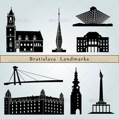 Bratislava Landmarks and Monuments Bratislava landmarks and monuments isolated on blue background in editable vector file Created: GraphicsFilesIncluded: JPGImage Layered: Yes MinimumAdobeCSVersion: CS Tags: architecture Bratislava, Tatoo Designs, City Sky, City Maps, Blue Backgrounds, Travel Posters, Skyscraper, Monuments, Poster Prints