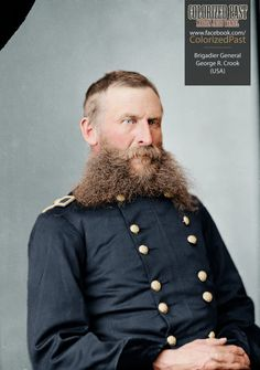Brigadier General George Crook (USA) Crook was born near Taylorsville, Montgomery Country, Ohio on 8 September Nominated to the United States. American Civil War, American History, Colorized Historical Photos, Battle Of Little Bighorn, Civil War Art, Unknown Soldier, Union Army, Military Figures, Epic Beard