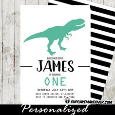 T-Rex Dinosaur Party invitations featuring a T-Rex in Teal against a white backdrop with an optional black striped back-side. Perfect for dinosaur first birthday invitations a cool dino-mite party for all ages! #cupcakemakeover
