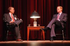 Dave Perry, Director of the Vann Center for Ethics, interviews Roger Goodell, NFL commissioner, prior to Q with a large audience in the Duke Family Performance Hall. This forum was one of the events held on the day of the Vann Center's dedication.
