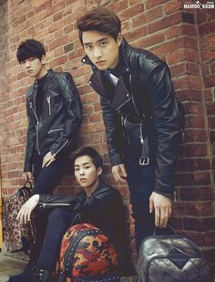 Marie Claire features EXO in their October, 2014 Issue. baekhyun, xiumin and d.o