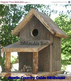 Rustic Country Cabin Birdhouse, Rustic Birdhouse, Primitive Birdhouse, Barnwood…                                                                                                                                                                                 More