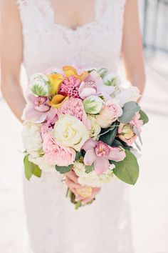 Love the flowers used in this bouquet.  Beautiful Wedding Bouquet by Procedo Events.  Photo by K. Holly Photography