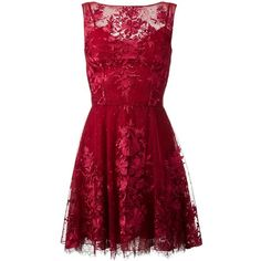 Zuhair Murad floral lace mini dress (£2,711) ❤ liked on Polyvore featuring dresses, zuhair murad, red, mini dress, floral dresses, short red dress, red print dress and short dresses