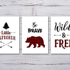 Buffalo Plaid Tartan Set of 3 Prints Wild Explorer Bear Plaid Bedroom, Plaid Nursery, Bear Nursery, Nursery Decor Boy, Boys Bedroom Decor, Boy Toddler Bedroom, Baby Boy Rooms, Plaid Decor, Personalised Prints