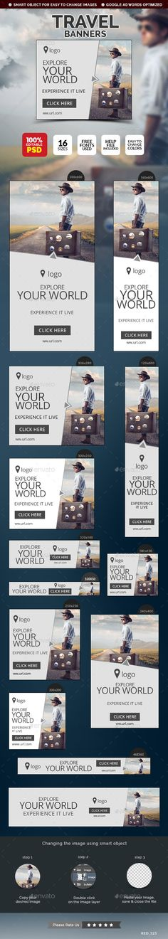 Travel Banners Template #design #ads Download: http://graphicriver.net/item/travel-banners/12522749?ref=ksioks
