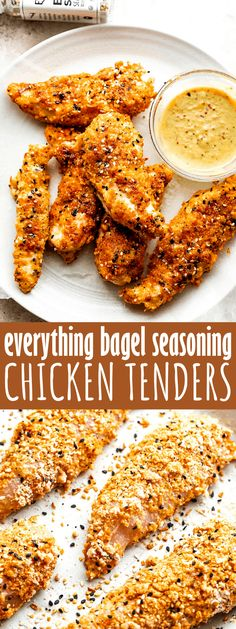 Classic baked chicken tenders get a turbo-boost of flavor and texture, thanks to the garlic, onions, sesame seeds and poppy seeds in Everything Bagel seasoning! This easy Everything Bagel Chicken is sure to become a regular in your weekly menu. Healthy Baked Chicken, Baked Chicken Tenders, Chicken Tender Recipes, Meat Recipes, Turkey Recipes, Oven Recipes, Chicken Breasts, Chicken Wings