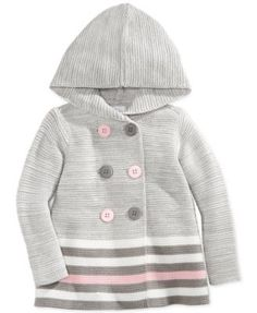 First Impressions Baby Girls' Striped Double-Breasted Sweater, Only at Macy's