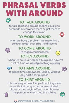 English Phrasal Verbs with AROUND. Speak English fluently and with confidence. verb, 11 Phrasal Verbs with AROUND with Meanings and Examples Speak English Fluently, Learn English Grammar, English Vocabulary Words, Learn English Words, English Phrases, English Idioms, English Language Learning, English Study, English Lessons