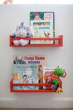 Kids' room + a teensy bit of paint = spice rack book display. Scoop up a few inexpensive spice racks from Ikea for this supereasy project: Simply paint the racks, allow them to dry, then attach them to the wall.