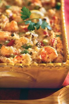 Cajun Shrimp Casserole - 101 Best Comfort Food Classics - Southernliving. Recipe: Cajun Shrimp Casserole  This hearty seafood casserole is filled with shrimp, cheese and rice and gets its Cajun flair from the addition of okra, bell peppers, and cayenne pepper. It's a great choice for a special occasion meal. If you're not a fan of okra, you can leave it out of this dish.