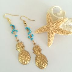 // Turquoise Beaded Pineapple Earrings //   •Faceted Turquoise beads with brass pineapple charms and brass ear wires.•