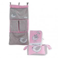"""Pack 3 pièces accessoires """"Mon joli berceau"""" bébé fille : vide poche de lit, protège carnet de santé, corbeille #Kinousses"""