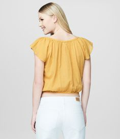Cape Juby Embroidered Ruffle Cropped Peasant Top -