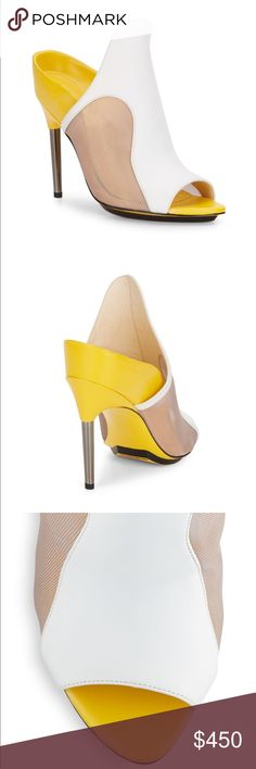 Authentic Phillip lim heels Aria leather and mesh paneled mules heel 4.24 3.1 Phillip Lim Shoes