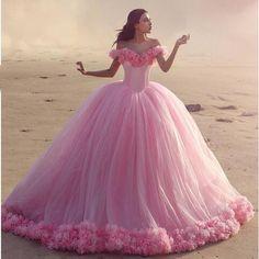 Romantic Ball Gown Pink Wedding Dress 2017 Bridal Gown Heavy Flower Tulle Princess Bride Dress Court Train Custom Made