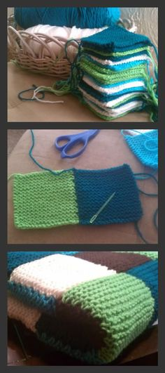 Garter Stitch Blanket pattern by Debbie Bliss Garter square knit blanket for my new nephew. The post Garter Stitch Blanket pattern by Debbie Bliss appeared first on Knitting ideas. Knit Or Crochet, Learn To Crochet, Crochet Crafts, Yarn Crafts, Sewing Crafts, Crochet Quilt, Crochet Squares, Knitting Squares, Knit Squares Blanket