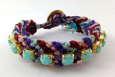 Handmade bracelet weaved with a Oaxacan technique, with platic gems. on Etsy, $410.40