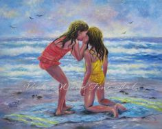 Sea Secrets 24 X 30 Original Oil Painting, beach girls painting, ocean, sisters, whispering, ocean, seascape, Vickie Wade art