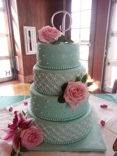 Mint and Pink Wedding Cake with royal icing piping and sugar pearls.