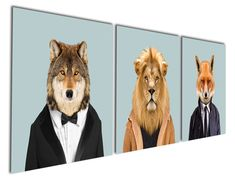 Gardenia Art - Animal World Series 3 Lion Wolf and Fox Canvas Prints Modern Wall Art Paintings Puppy Wild animal Artwork for Room Decoration,16x16 inch, Stretched and Framed