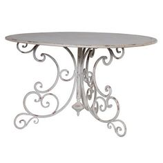 Shabby Chic Metal Distressed French Ornate Patio Table