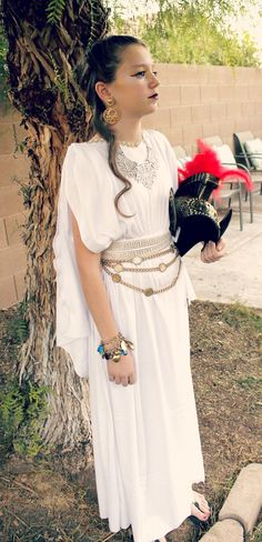 Athena costume for girls no sew costume directions es ivy athena goddess of wisdom solutioingenieria Choice Image
