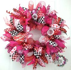 Funky Deco Mesh Valentine's Day Wreath For Door or Wall Hearts Red Hot Pink White Black Check Valentine Day Wreaths, Valentines Day Decorations, Holiday Decorations, Thanksgiving Wreaths, Holiday Wreaths, Holiday Crafts, Mesh Ribbon Wreaths, Ribbon Projects, Wreaths For Sale