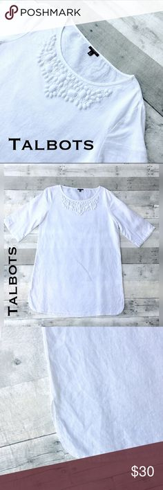 LNWOT- Crisp white linen shift dress matte jewels An amazingly optic white scoop neck 3/4 sleeve shift dress. Fabric covered embellished jewels create subtle accents.  Has tailored split at sides as an additional detail.  Tailored and pretty dress! Talbots Dresses