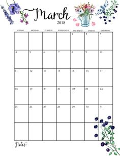 2018 Printable Monthly March Calendar