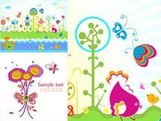Lovely colorful flowers theme vector