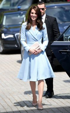 Baby Blue Beauty from Kate Middleton's Best Looks  The royal stunned in a baby blue Emilia Wickstead coat and L.K. Bennett heels while abroad visiting Luxembourg.