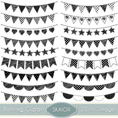 Doodle Bunting Clipart Flags Clipart Doodle Bunting Clip Art Stars Bunting Clip Art Hearts Bunting Clipart Party Bunting Clipart by skaior #bunting #clipart #doodle #flags #party #scrapbooking